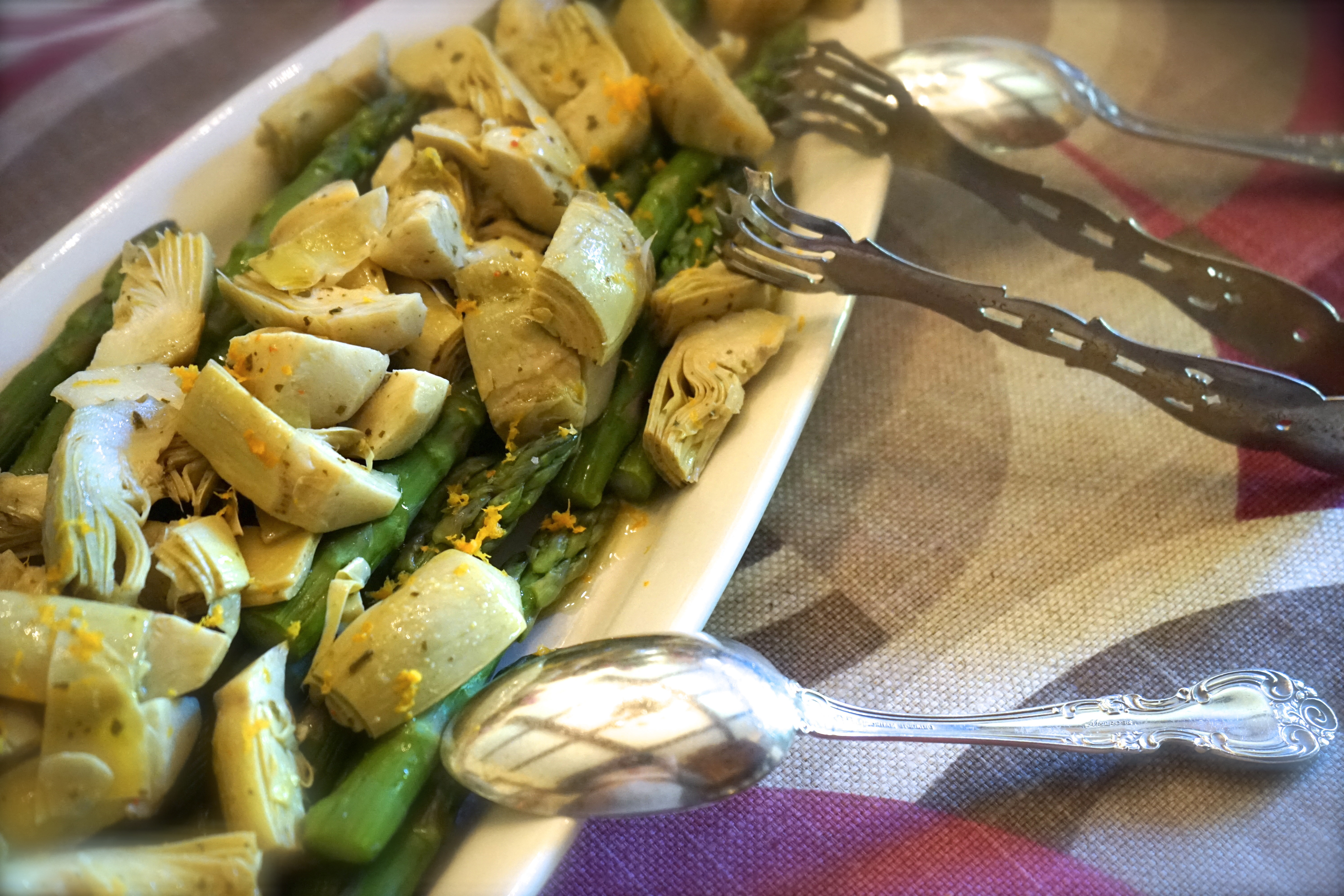 Asparagus with Artichoke Hearts and Orange Zest.