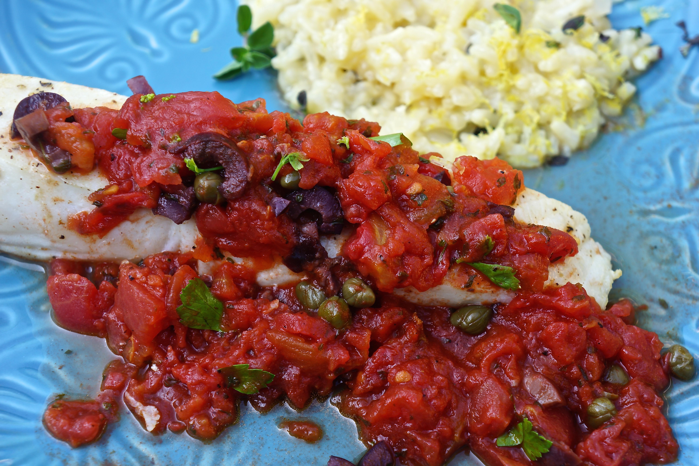 Halibut with Homemade Tomato Sauce.