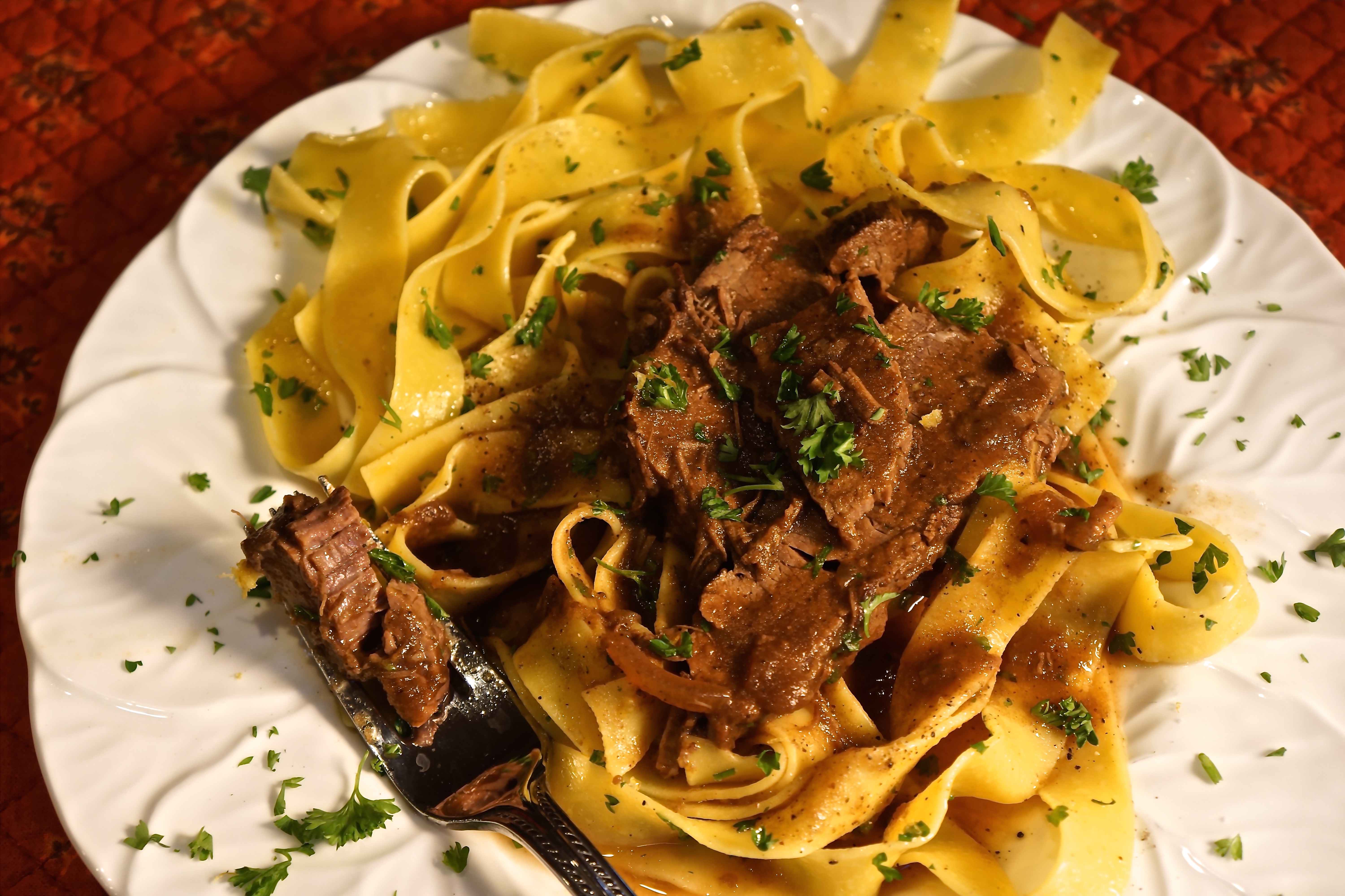 My recipe is loaded with great flavor, the meat is moist and tender and there is lots of gravy.