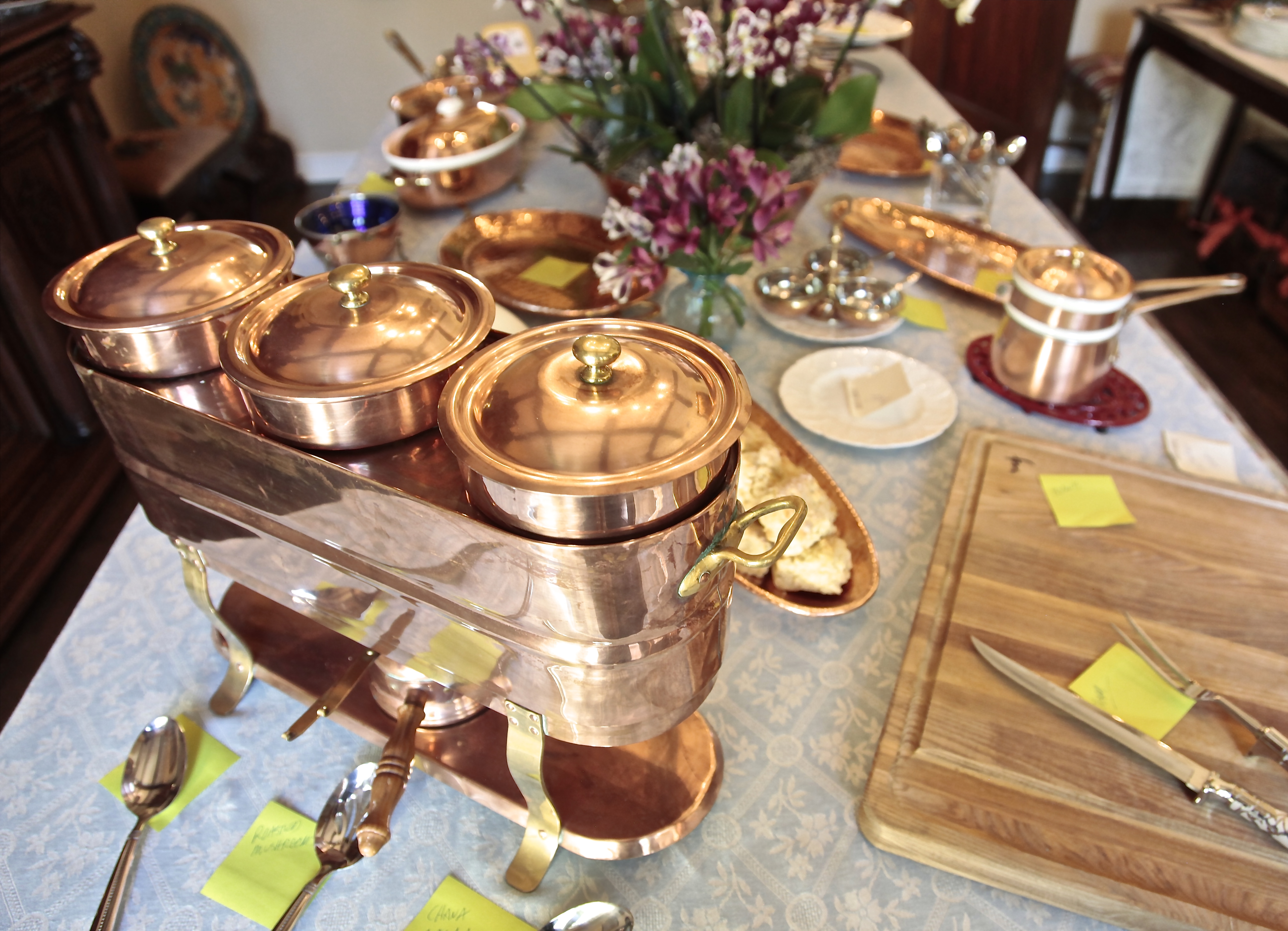 The inherent warmth in copper was welcoming and inviting and made the food even more enticing.
